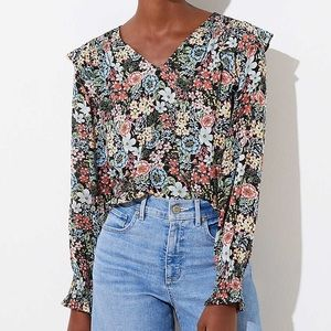 LOFT | Bouquet Smocked V-Neck Blouse